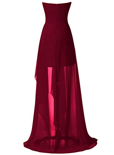 Womens Low Chiffion Fuchsia Strapless High Evening Sweetheart Dress Prom Beading ASBridal Bxqd4twd