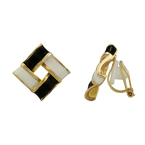 XGALA Art Deco Party Square Clip On Statement Stud Earrings Gold Tone Enamel