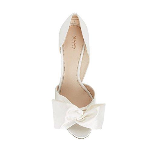 Sandals Dress XYD Bowknot Shoes Ivory On Slip Low with D'Orsay Toe Women Pumps Peep Heel qRzxAwqfv