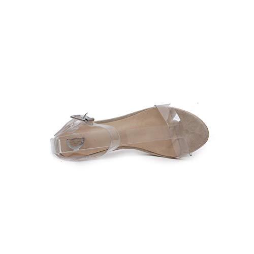 Yan Fiesta De Mujeres Zapatos Tacones Las Vestido clear Damas Sandalias 2019 Nuevo Tacón Noche Altos Pu Moda Alto Ultra 41 Clear Transparente Boda UrnxAU5wq