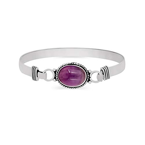 925 Silver Plated 9.10ct, Genuine Amethyst Bangle Made by Sterling Silver Jewelry