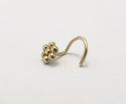 14k Yellow Solid Gold Tiny Flower Piercing Screw Bend Nose Stud, Minimalist Artisan Handmade Boho Jewelry