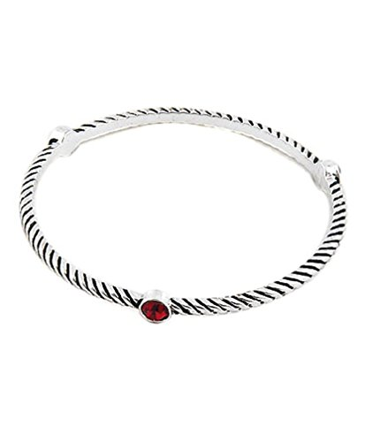 Red & Silver Casted Metal Thin Bangle Bracelet Fashion Jewelry (Box#6)