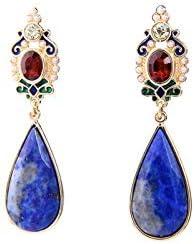 QYMX Pendiente Pendientes de Piedra Natural Bohemia para Mujer Moda Vintage Azul Gota de Agua Pendientes Fiesta