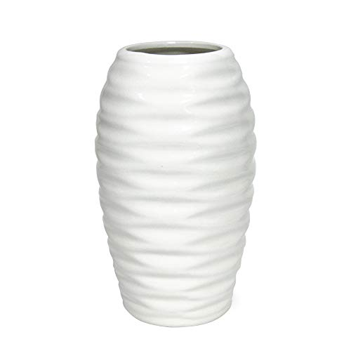 - D'vine Dev 8 Inches White Ceramic Vase Wave Design Hand Glazed, Ideal for Fresh Bouquets, Floral Arrangement, Everyday Home Decoration Vase and Special Events - Gift Box Packaged