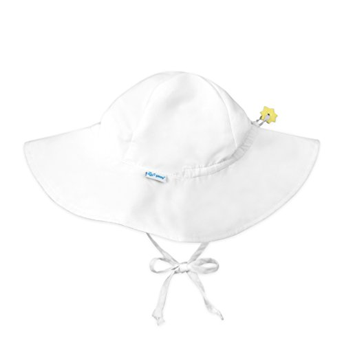 i play. Baby Solid Brim Sun Protection Hat, White, 9-18 Months -