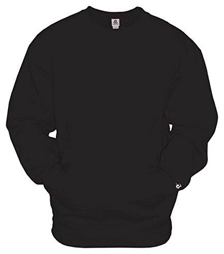 Badger Crewneck Fleece Sweatshirts - Badger Mens Athletic Fleece Pocket Crew (1252) -BLACK -XL