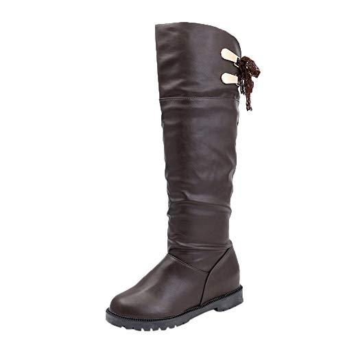 Confortables Cuero Café Mujer Zapatos Botas Rodilla Plata Suave Altas De Alikeey Fiesta Largas wpxqYA7IWn