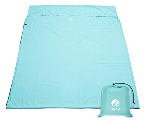 Pike Trail Sleeping Bag Liner – Travel and Camping Sheet, Lightweight and Compact Insert with Full Length Zipper and Guarantee (Turquoise Blue, X-Large 86
