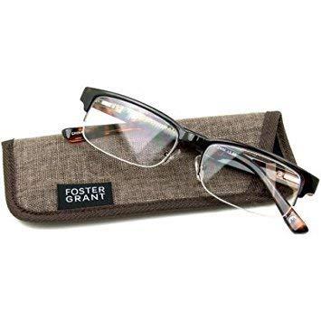 Foster Grant Bentley Tortoise Half-Rim Reading Glasses +2.75 with case