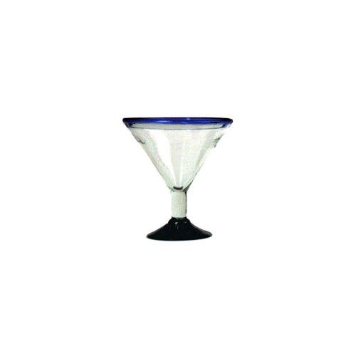 Copa Derecha 16 oz Blue Rim Martini Glass by Aztecas Design