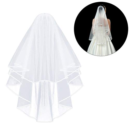 (Comicfs White Double Ribbon Edge Center Cascade Bridal Wedding Veil with)