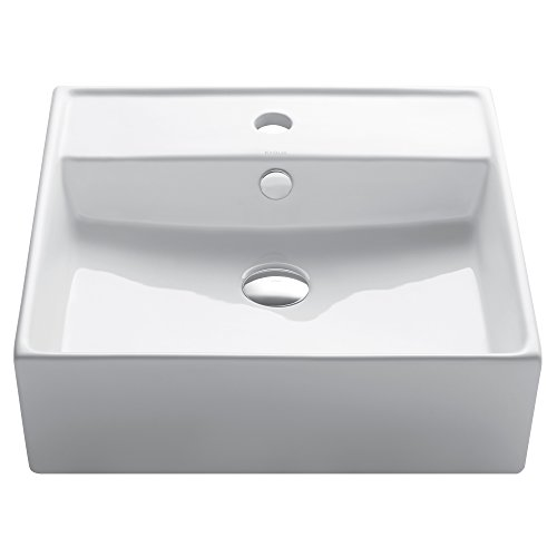 Top Mount Bathroom Sink - Kraus KCV-150 White Square Ceramic Bathroom Sink