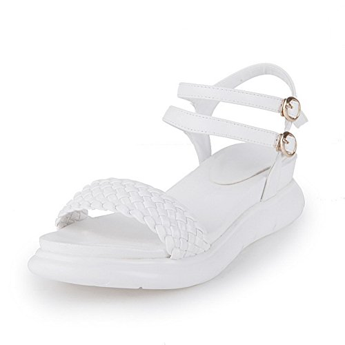 AmoonyFashion Womens Buckle Open Toe Kitten Heels Pu Solid Sandals White aXIzd