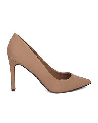 Formal by Breckelles Stiletto Nubuck Natural GE96 Pointy Pump Sole Women Single Toe Party Dressy rUUqnFYa