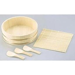 JapanBargain Sushi Oke Wooden Hangiri Bamboo Mat Rice Paddle Set