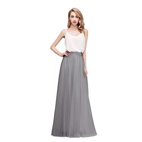 Honey Qiao Women's Maxi High Waist Skirts Gray Tulle Holiday Formal Skirt