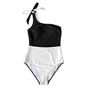 CUPSHE Women's One Piece Swimsuit Color Block One Shoulder Bowknot Bathing Suit