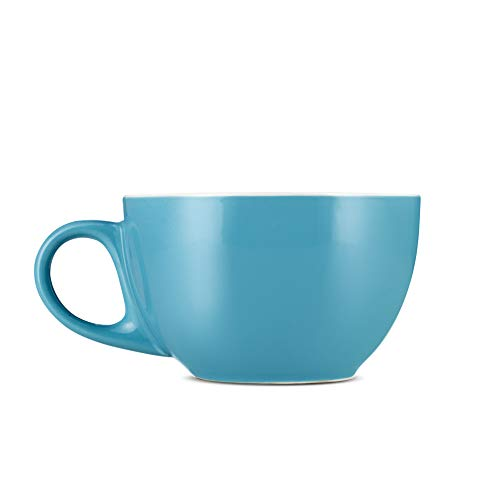 Espresso Parts Porcelain Large Latte Cups W/Saucers (12oz) (BLUE, 6) ()
