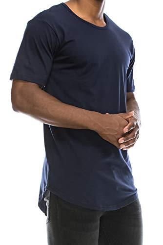 JC DISTRO Mens Hipster Hip Hop Cotton Elong Crewneck T-Shirt Navy Large