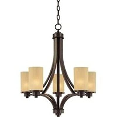 Artcraft Chandelier With Frosted Glass Shades, Oiled Bronze Finish