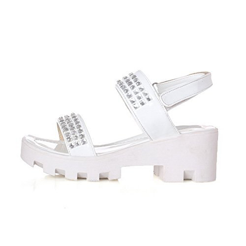 AgooLar Mujeres Velcro Puntera Abierta Plataforma Sólido Sandalia Blanco