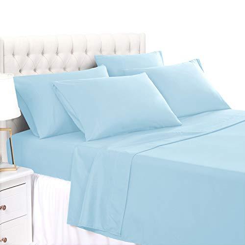 BASIC CHOICE 4 Piece Sheet Set - Luxury 2000 Series Wrinkle & Fade Resistant Bedding Set Twin, Light Blue, Baby Blue ()