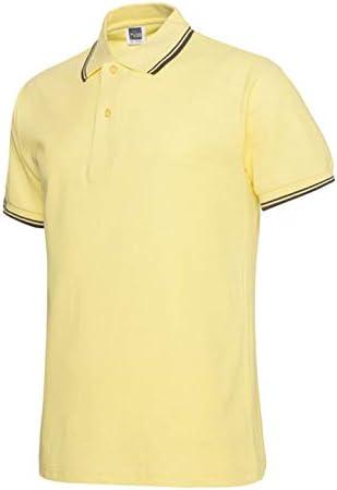 MTCDBD Herren Polo Kurzarm,Sommer Lose Revers Gelbe Trikots Stretch Schnelltrocknende Knopf Kleidung Lässige Einfarbige T-Shirt Golf Tennis Kleidung Arbeitskleidung Weste
