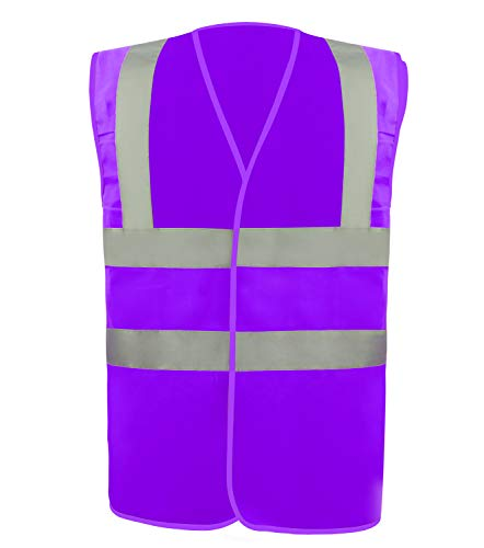 Safety Vest Reflective stripes Safety knitted Vest Bright Construction Workwear for men and women. (Extra Large, purple)