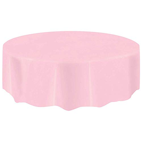 (4x Disposable Tablecloth Round, PEVA Plastic Reusable Table Covers for Parties/Event 84'' Pink)