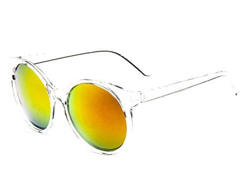 Chezi Women's Plastic Full Frame Iridium Mirrored Circle Lens Round Sunglasses - Tween Sunglasses