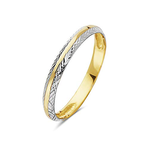- PORI JEWELERS 14K Solid Gold 2.5mm Two Tone Diamond Cut Wedding Band Ring - Multiple Ring (9)