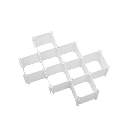 Ktyssp 6pc Plastic Closet Divider Cabinet Organiser Honeycomb Latticed Drawer (White)