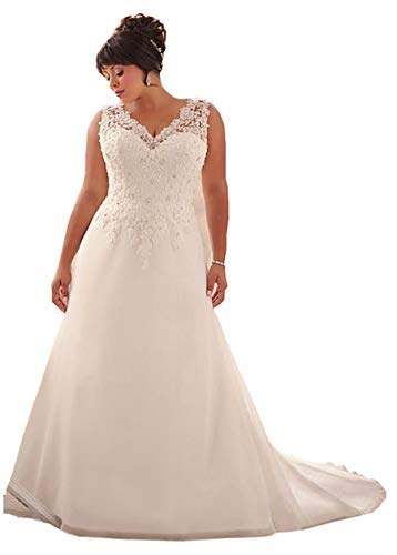 WeddingDazzle Wedding Dress Applique with Beading Long Bridal Dress for Women's18W Ivory