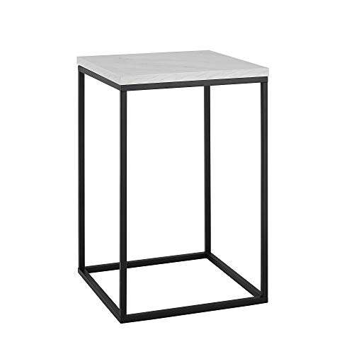 """WE Furniture AZF16LWSTWM Side Table, 16"""", White Marble"""