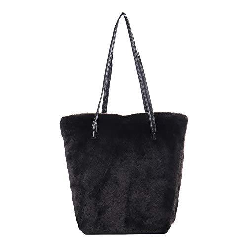 Clearance !! Women Bag JJLIKER Fashion Simple Pure Color Faux Fur Shoulder Bag