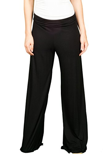 TL Women's Made in USA Comfy Wide Leg Long Boho Maternity Palazzo Gaucho Pants BLACK (Maternity Pants Long compare prices)