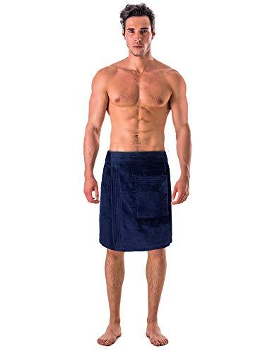 Turkish Cotton Terry Velour Adjustable Body Wrap Towel (Towel Wrap, Navy Blue)
