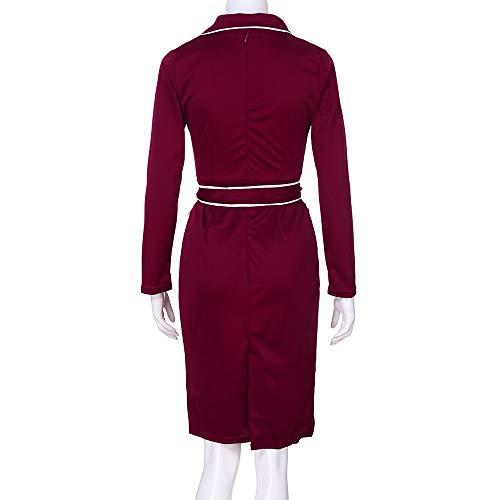Chanyuhui Lunga Rosso Attività Di Abiti ❤women Donne Manica Midi Bodycon Vestito Lavoro Professionale Serale Festa 2018 Matita 7r7qAn01