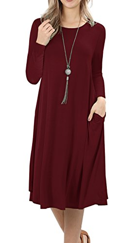 Grecerelle Womens Long Sleeve Casual Loose Swing Dress Wine Red S