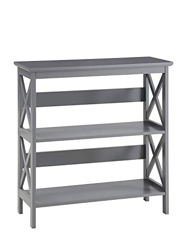 Convenience Concepts Oxford 3-Tier Bookcase, Gray (Wood Bookcase Grey)