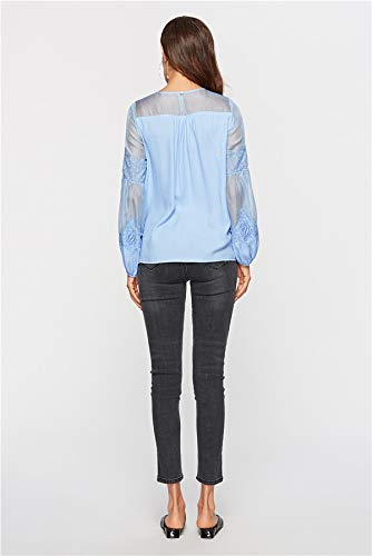 T Col Lanterne Casual Bleu Tees Rond Automne Tops et Printemps Lache Blouse Manchon Femmes pissure Hauts Tulle Shirts wqYC6nTx