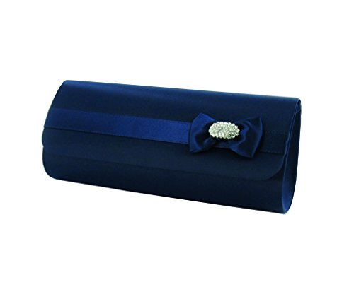Navy Bag Diamante By Prom Satin With Clutch Womens Hand And Bow Bag Wedding Satin Trimming Party Lexus Bridal xqwTZv06