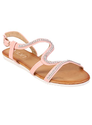 Summer Chaussures Flats Rose Femmes Sandals Beach Diamante Toe Open 1w57xqfU7