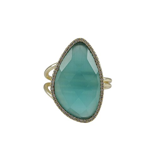 Piers Design 925 Sterling Silver Ring, Adjustable, Aqua Cat's Eye Glass Stone, with CZ Border GoldTone By