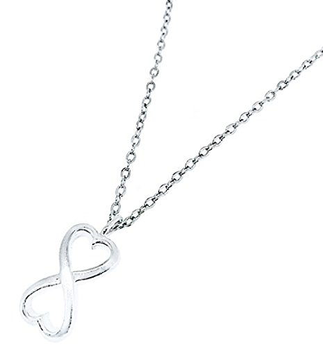 Heavy Casted 925 Sterling Silver Infinity Heart Pendant and 16 Inch Chain-Nickel Free and Hypoallergenic