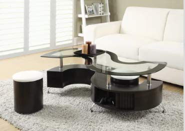 Amazon.com: Cofee Table Center Tables for Living Room Cappuccino MDF ...
