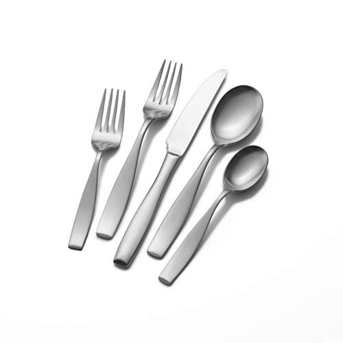 (Mikasa 5081298 Satin Loft 65-Piece 18/10 Stainless Steel Flatware Set with Serving Utensil Set, Service for 12)