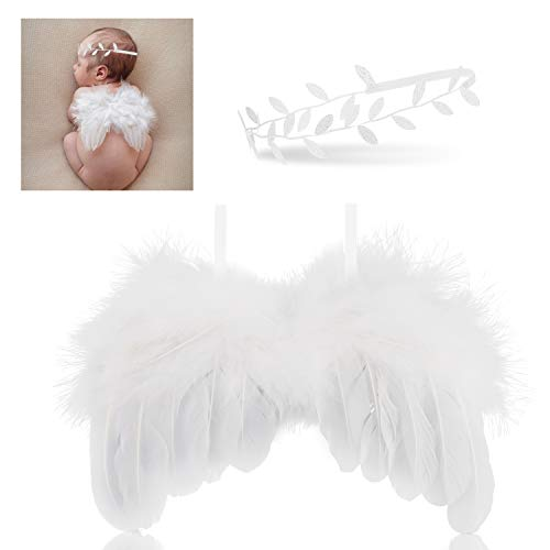 (Hifot Newborn Baby Photography Prop Outfits, Feather Angel Wings with Headband Set, Baby Girl Photo Props Accessories White)