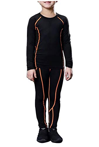 LANBAOSI Boys & Girls Long Sleeve Compression Shirts and Pant 2 Pcs Set, Orange Line, 5, 22/120